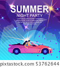 Cartoon Poster Inviting to Summer Night Party 53762644