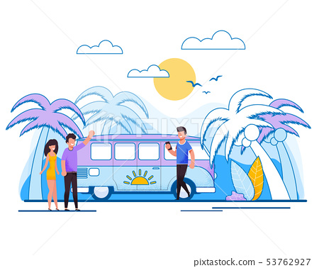 Cartoon Married Couple in Bus Tour Illustration 53762927