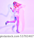 Excited DJ girl with Dyed Hair dance. Art neon 53763467