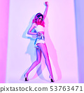 Excited DJ girl with Dyed Hair dance. Art neon 53763471