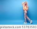 Two hipster Girl Having Fun in Stylish neon Outfit 53763503