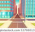 Modern city empty crossroads cartoon vector 53766013