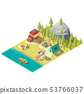 Camping pitch in national park isometric vector 53766037