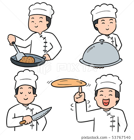 vector set of chef 53767540