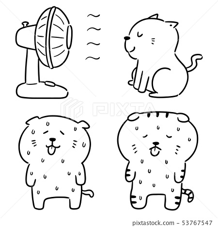 vector set of cat in hot weather 53767547