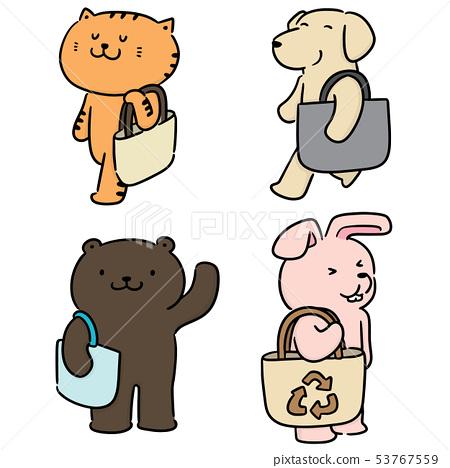 vector set of animal carrying cloth bag 53767559
