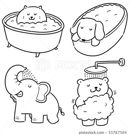 vector set of animal bathing 53767564