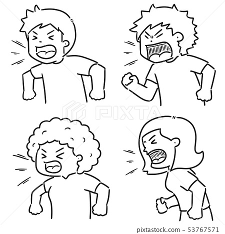 vector set of shouting people 53767571