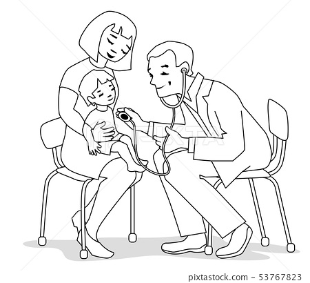 mother, child and doctor 53767823