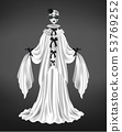 Female pierrot character suit 3d realistic vector 53769252