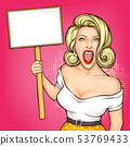 Pop art woman holding blank protest sign. Picket, 53769433