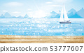 Vector blue sea scape with yacht in sunshine, 53777607