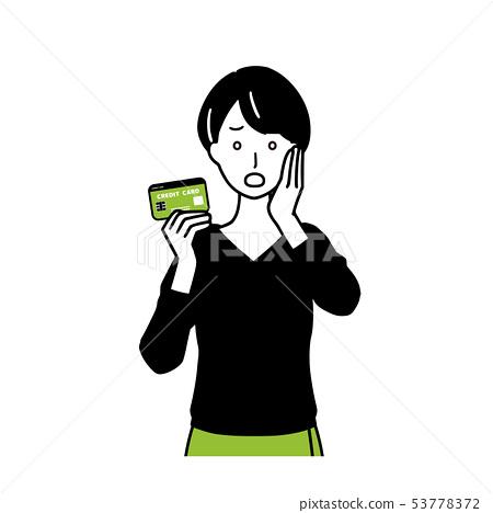 신용 카드를 가진 여성 53778372