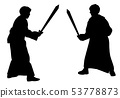 Two kids sword fighting duel in medieval costumes 53778873