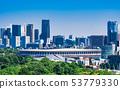東京新國立體育場和港區周圍的摩天大樓※2019年5月拍攝 53779330