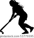 girl with a ball play field hockey 53779395