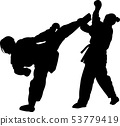 two girls fight in karate silhouette 53779419
