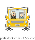Illustration where an elderly couple riding a car is braking suddenly 53779512