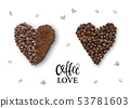 Creative layout of coffee beans and coffee powder 53781603