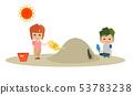 남자와 여자 어린이 2 명이 더운 여름 모래밭에서 놀고 열사병되어있는 일러스트 53783238