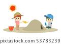 男孩和女孩的两个孩子在炎热的夏天沙盒中戴帽子和对抗中暑的插图 53783239