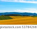 雪山和农村风景农田与浩大的蓝天和白色云彩的春天图象 53784268