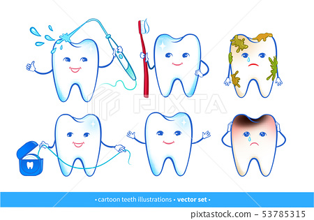 Vector illustration set of tooth characters 53785315