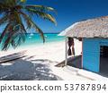Typical caribbean house near Atlantic ocean beach 53787894