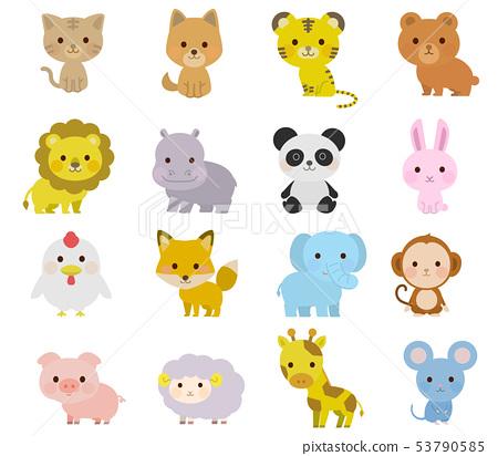 可愛的動物的全身插圖 53790585