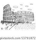 crowd of tourist visiting Colosseum vector 53791872