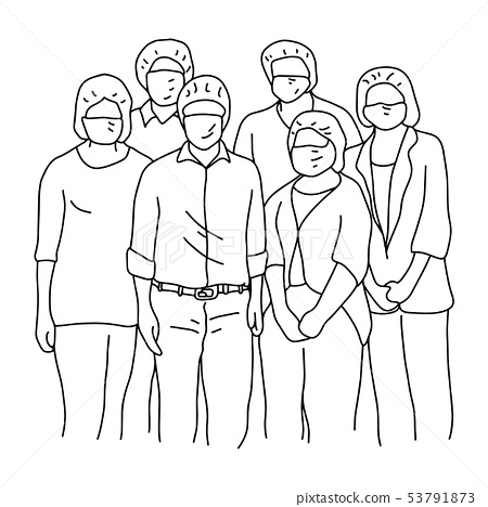 six people wearing facial safety vector 53791873