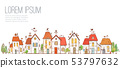 Illustration with doodle cartoon colored houses on white background.. 53797632