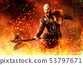 Viking with axe standing in fire, battle in action 53797671