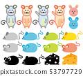 鼠標鼠標年2020新年卡插圖奶酪 53797729