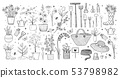 Garden doodles on white background. Vector illustration 53798982