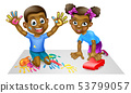 Two Children Playing 53799057