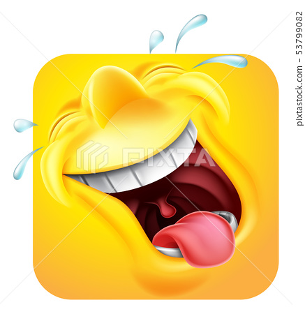 Laughing Emoji Emoticon Icon 3D Cartoon Character 53799082