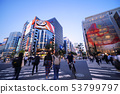 Tokyo cityscape in Japan Ginza is seen from the intersection of Sukiyabashi (night view) 53799797