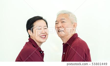 Asian senior couple promise commitment on white 53801449
