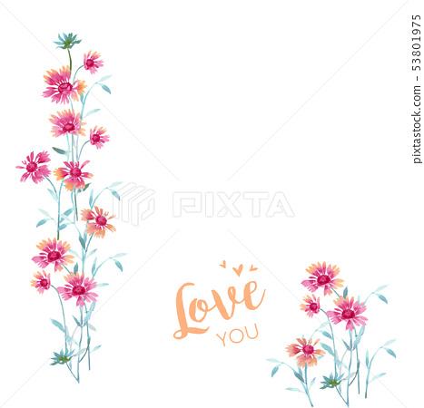 美麗的水彩小花 53801975