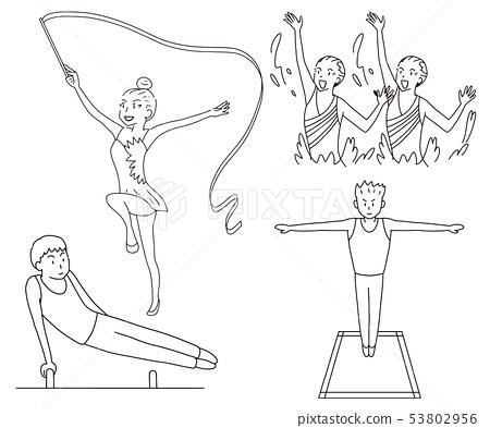 同步,藝術體操,騎馬,蹦床奧林匹克體操表達比賽插圖集線圖 53802956