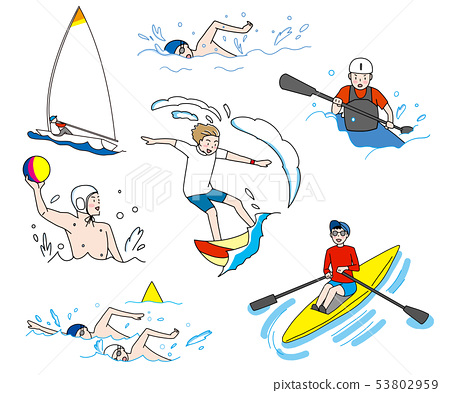 Yacht, swimming, water polo, distance swimming, canoeing, surfing Olympic water and water competition illustration set 53802959