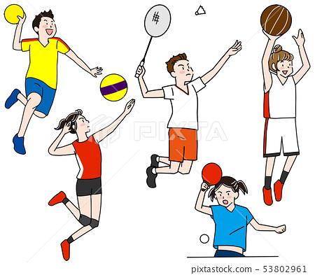 Handball, badminton, basketball, volleyball, table tennis Olympic indoor competition illustration set 53802961