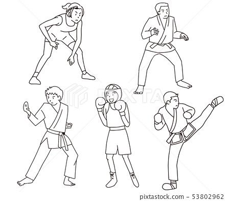 摔跤,柔道,空手道,拳擊,跆拳道奧林匹克武術,武術比賽插圖集線條畫 53802962