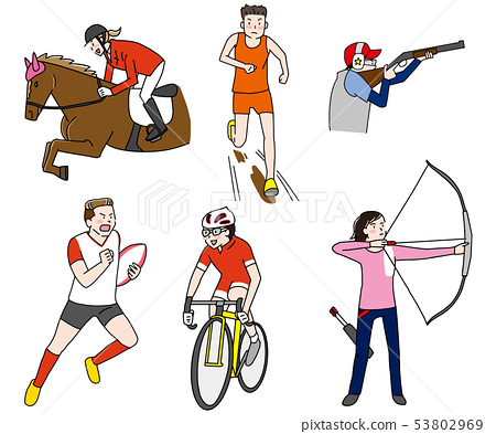 Horseback riding, land, shooting, rugby, road bike, archery Olympic field competition illustration set 53802969