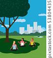 Yoga exercising in city garden flat color vector 53804435