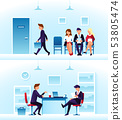 Businessmen, diverse employees waiting interview in row. Contender employee and interviewer sitting 53805474