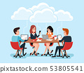 Business team using laptops, business people sharing office documents, chat virtual conference on 53805541