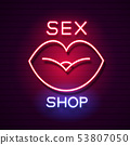 Sex Shop Neon Sign. Adults store banner. Vector 53807050