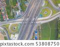 Aerial view of highway junctions Top view of Urban 53808750